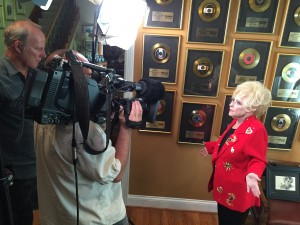 Tom Vlodek shoots Country Music Hall of Famer/Rock n' Roll Hall of Famer Brenda Lee for our project on the music of Springfield, Mo. (July 13, 2015 photo by Rene' Greblo at Brenda's home in Nashville, Tn.)